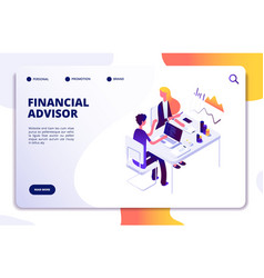 financial advisor isometric concept business data vector image