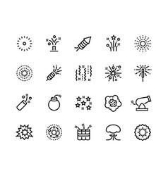 Firework line icons birthday party and vector