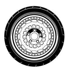 Flat car wheel 12 vector