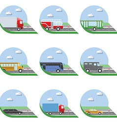 flat design city transportation icons trucks vector image