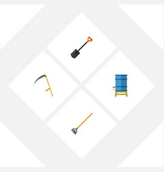 Flat icon garden set of tool spade container and vector
