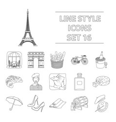 France country set icons in outline style big vector