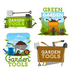 garden tools icons and symbols vector image