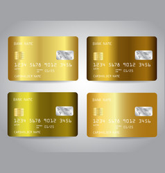 gold credit cards set with colorful vector image