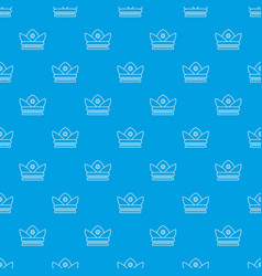 gold crown pattern seamless blue vector image