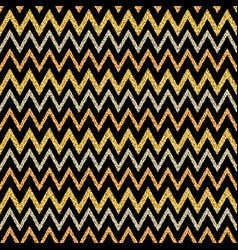golden and silver glittering zigzag pattern on vector image