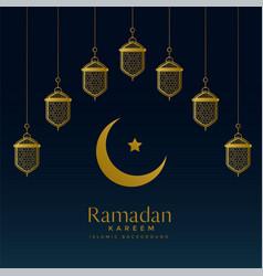 Golden moon and hanging lanterns for ramadan vector