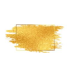 Golden paint brush stroke with foil texture frame vector