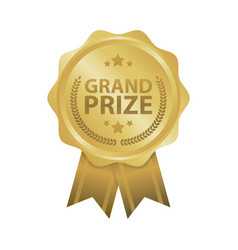 Grand prize win gold badges vector