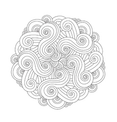 Graphic Mandala with waves and curles Element of vector