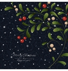Green sprig with red berries on dark background vector image