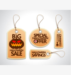 halloween sale tags set orange vector image