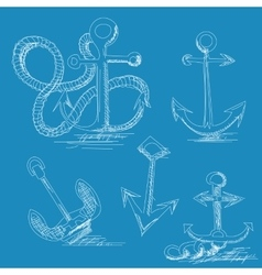 Hand drawn anchors vector image