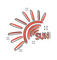 hand drawn sun icon in comic style summer sign vector image