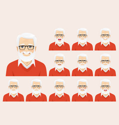 handsome senior man expression set vector image