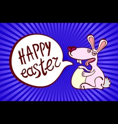 Happy Easter Rabbit Bunny on Blue Background vector image