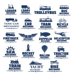 Icons set for transport mechanics vector