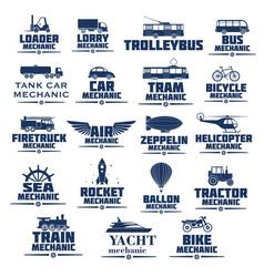 Icons set for transport mechanics vector