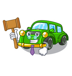 Judge classic car toys in cartoon shape vector