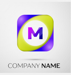 Letter m logo symbol in the colorful square on vector