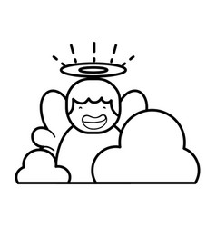 line cute angel with aureole and wings with clouds vector image