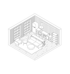 Line living room interior vector