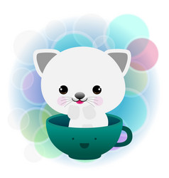lovely coffee and cut cat vector image