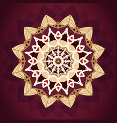 luxury gold and red mandala pattern design vector image