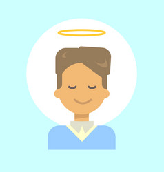 Male with angel nimbus emotion profile icon man vector