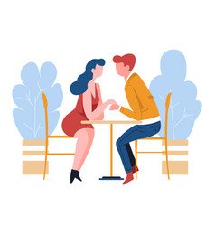 Man and woman on date at cafe couple romantic vector