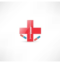 Medical syringe and red cross vector image
