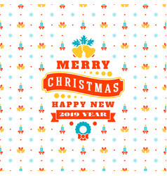 Merry christmas and happy new year retro design vector