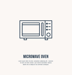 microwave oven flat line icon cooking vector image