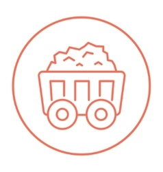 Mining coal cart line icon vector image