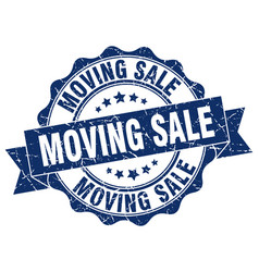 Moving sale stamp sign seal vector