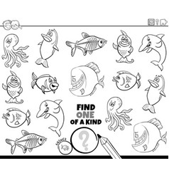 one a kind game with sea animals color book vector image