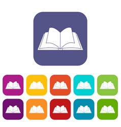 Opened book with pages fluttering icons set flat vector