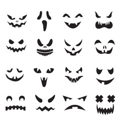 Pumpkin faces halloween jack o lantern face vector
