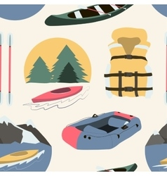 Rafting and kayaking icons collection pattern vector image