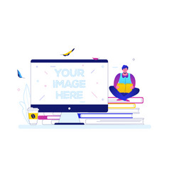 reading concept - flat design style colorful vector image