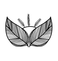 Rustic feathers with leaves decoration vector