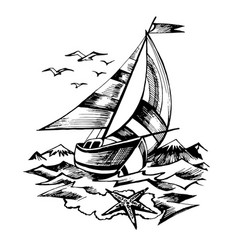sailing boat sketch isolated vector image