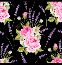 seamless floral pattern with pink roses and vector image
