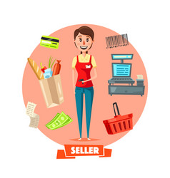 Seller woman or cashier in shop retail vector