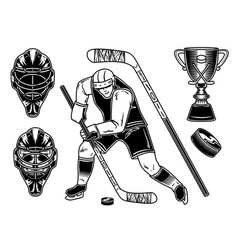 set hockey player and equipment vector image