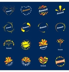 Set logos for fireworks vector