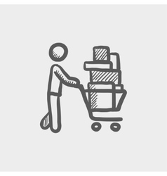 Shopping cart full of shopping bags sketch icon vector image