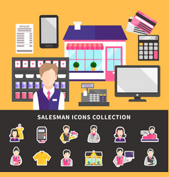 Shopworker icons collection background vector