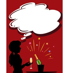Silhouette girl with champagne glass vector