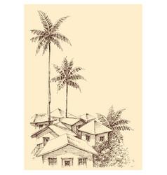 small city sea sketch vector image